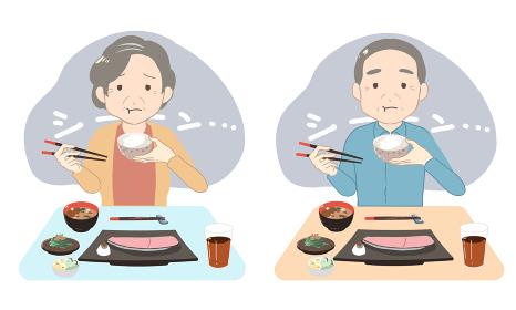 1人でご飯を食べる シニア(線無し)