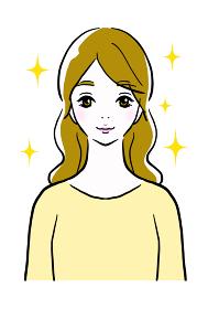 キラキラ輝いている若い女性のイラスト