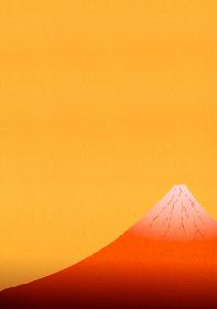 赤色に輝く富士山のイラスト 2 縦位置
