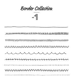 手描き 線 ボーダー素材 セット
