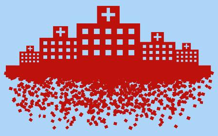 医療崩壊で崩れていく病院のイメージイラスト