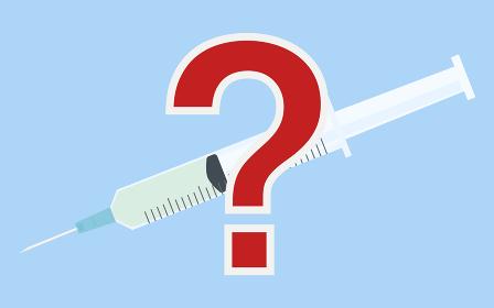 ワクチン接種のイラスト、液体の入った注射器
