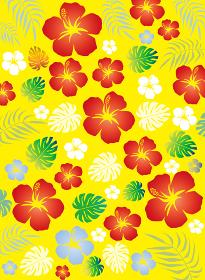 ハイビスカスの花と南国の植物