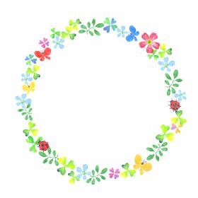 水彩で描いた花とクローバーのフレーム