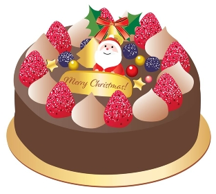 サンタの飾りのチョコレートのクリスマスケーキ