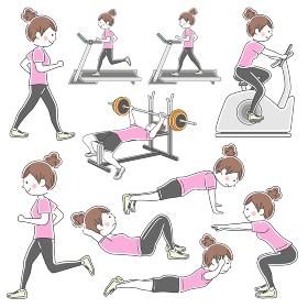 スポーツジムでトレーニングをする女性のイラストセット