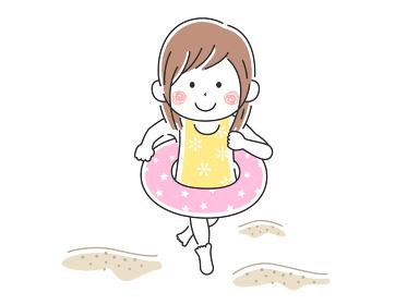 海で遊ぶ女の子のイラスト