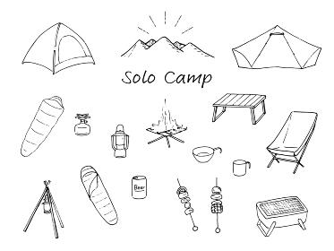 ソロキャンプ道具 線画 セット