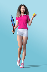 ピンクのポロシャツを着たワッフルヘアーの女の子が笑顔でテニスボールとラケットを持つ