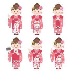 七五三 女の子のイラスト ポーズバリエーション