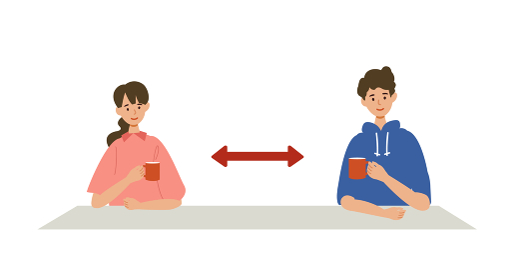 【新しい生活様式】横並び会話の推奨イラスト
