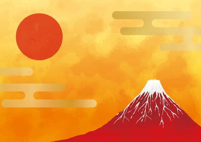 初日の出と赤富士と海:年賀状 赤富士 富士山 ご来光 初日の出 太陽