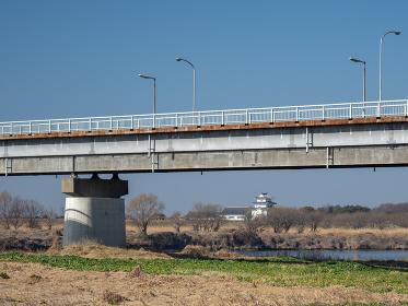 境大橋と関宿城 茨城県境町