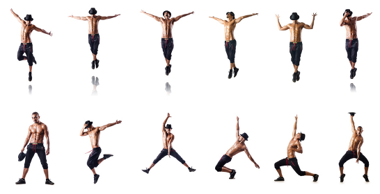 Collage of dancers isolated on white background