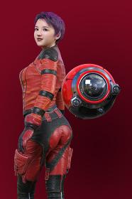 赤いライダージャケットを着たショートカットの女性が振り返り赤い高性能なレンズを持つロボット