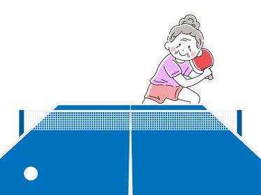 卓球をする年配の女性のイラスト
