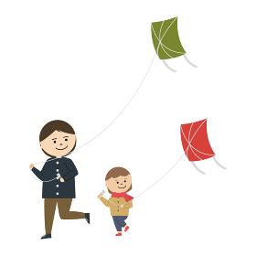 凧揚げをする女性と女の子のイラスト