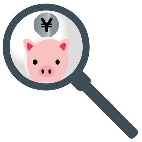 虫眼鏡拡大鏡かわいいブタ豚の貯金箱のイラスト日本円|貯金・節約のイメージ|ベクターデータ