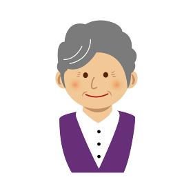 人物イラスト / 老婦人 おばあちゃん・ 上半身
