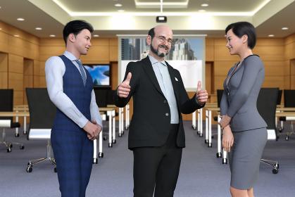データを投影したスクリーンを背にCEOと男性社員とビジネスウーマンが3人でにこやかに会話する
