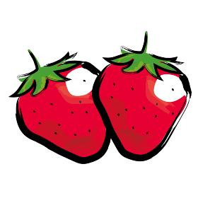 アナログタッチ筆描き水彩画 苺イチゴのイラスト野菜フルーツ