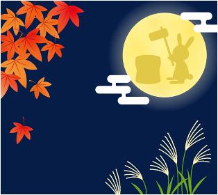 十五夜_満月で餅つきをするうさぎと秋の植物