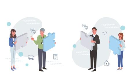 ビジネスコンセプト パズルとビジネスパーソンのイラスト