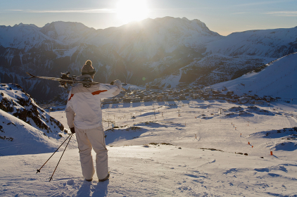 Skier looking over Alpe d'Huez.