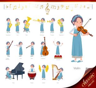 クラシック音楽演奏に関するお洒落なママ女性のセット