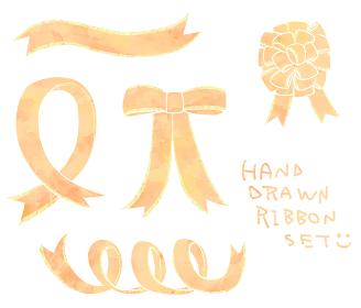 手描き黄色リボンセット