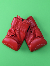 red sport leather boxing gloves