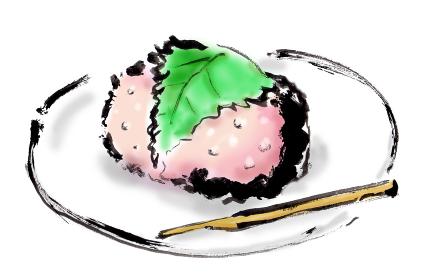 和風手描きイラスト素材 和菓子 さくらもち, 桜餅 桜もち