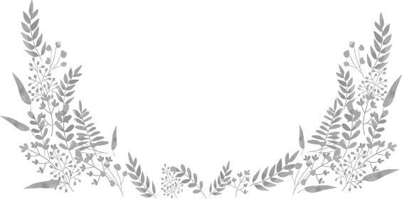 水彩風 植物のフレーム グレー