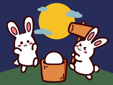 お月見と餅つきをするウサギ
