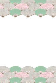 和柄ハガキデザイン ピンク×グリーン 扇子の青海波のフレーム