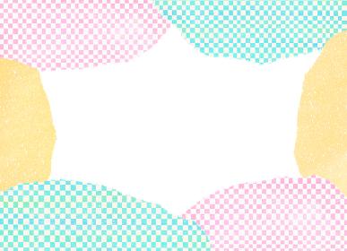 カラフルな和柄市松模様のフレームカード 白背景