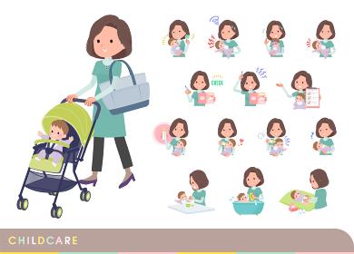 赤ちゃんのお世話をするチュニック中年女性のセット