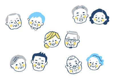 笑顔のシニアカップル 5組