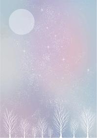 冬の景色:水彩 冬 景色 木 木々 雪 丘 雪山 林 森 星 夜空 キラキラ