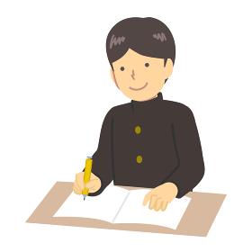 勉強する学ランを服を着た少年イラスト