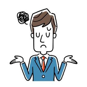 ベクターイラスト素材:落胆、困惑するビジネスマン