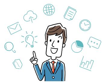 ベクターイラスト素材:仕事の効率化を考えるビジネスマン