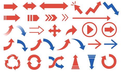 様々な種類の赤と青の矢印のベクターイラスト素材