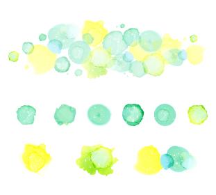 アルコールインクアート グリーン系の水玉 セット
