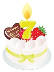 白い生クリームのお誕生日ケーキと7歳の数字のキャンドル