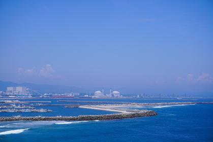 高台から望む相馬港と松川浦新漁港、天然ガス発電所