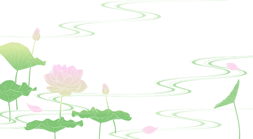 流水に蓮の花の背景イラスト(淡彩)