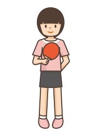 卓球をする女の子