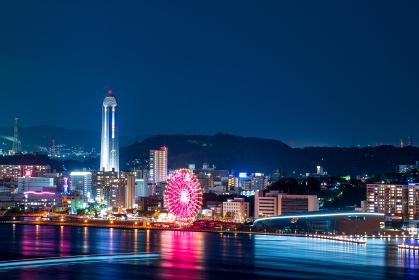 門司港レトロ展望室から見る下関観光地の夜景