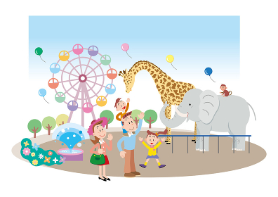 象やキリンやお猿さんがいる動物園を楽しむ4人家族